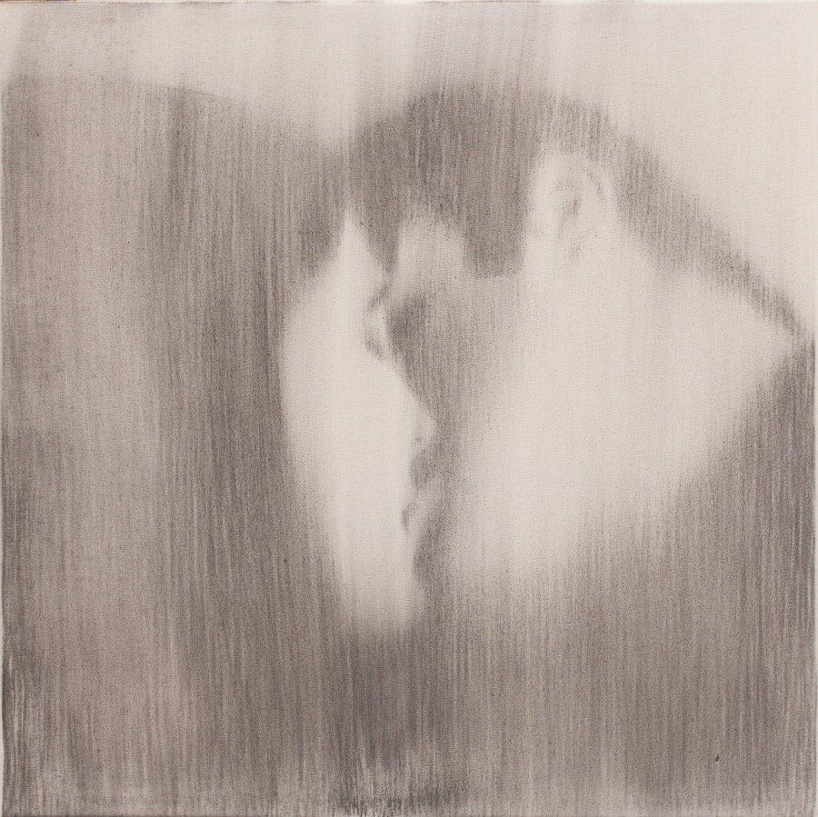 Omar Galliani, Baci rubati / Covid 19 #14, 2021, charcoal and graphite on canvas, 23,62x23,62 inch