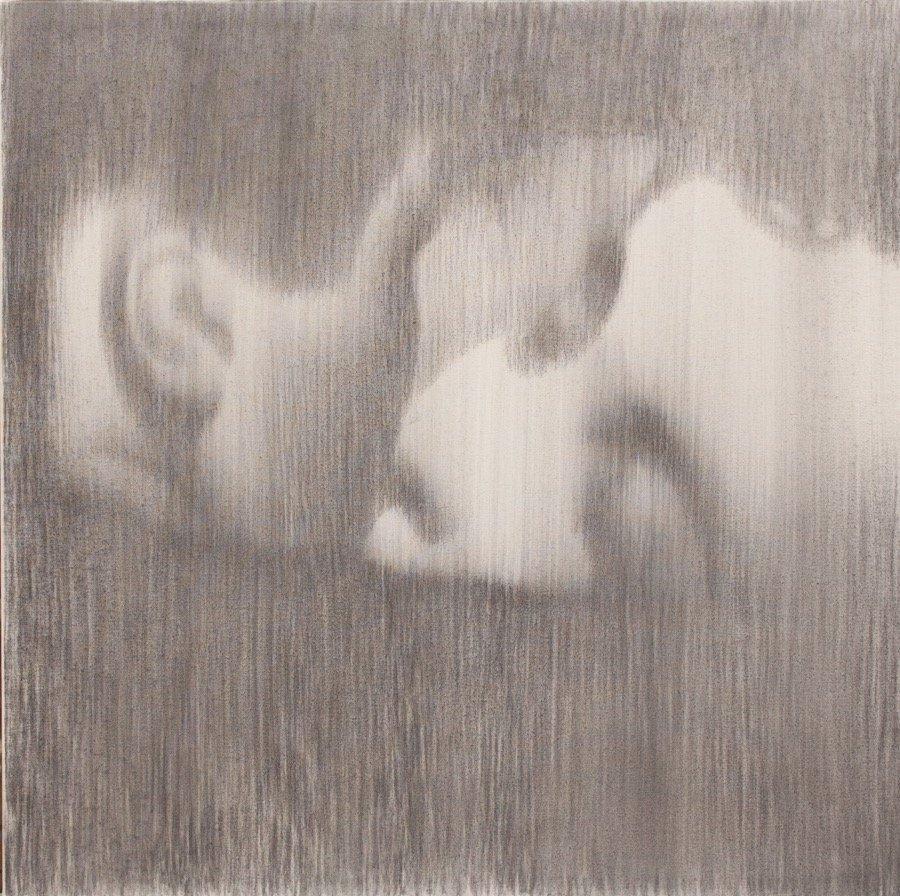 Omar Galliani, Baci rubati / Covid 19 #17, 2021, charcoal and graphite on canvas, 23,62x23,62 inch