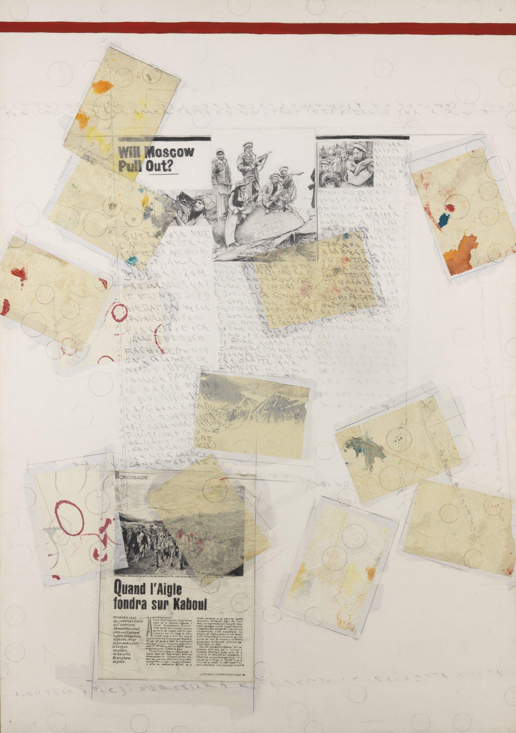 Senza titolo (Primo lavoro dell'anno pensando all'Afghanistan), 1990 mixed media on paper mounted on canvas 39,37 x 27,55 inch - 100 x 70 cm